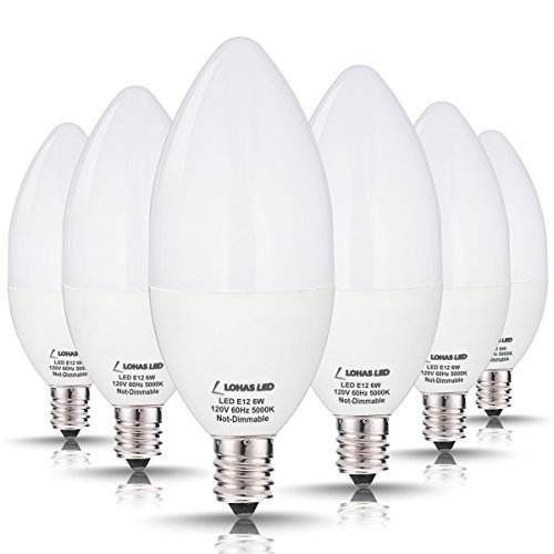 LOHAS LED Candelabra Bulb 60W Equivalent, Daylight White Light 5000K LED, 6W E12 Base Ceiling Fan Light Bulbs 60 Watt, Candle Shape Chandelier Kitchen Light, Not Dimmable, 550 Lumens(6 Pack)