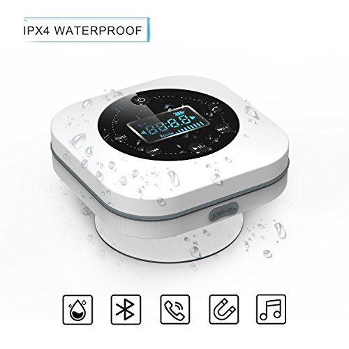Bluetooth Wireless Waterproof Shower Speaker, VICTORSTAR Speakers S603 with Suction Cup, LCD Display, Built-in Mix, FM Radio, 10 Hours Playing Time, Hands-Free for iPhone, Pool, Beach, Home (White) by VICTORSTAR