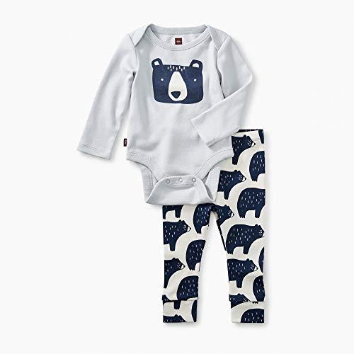 (Tea Collection 2-Piece Bodysuit Baby Outfit, Sterling, Bear Design with Gray Top and White Pants (0-3 Months))