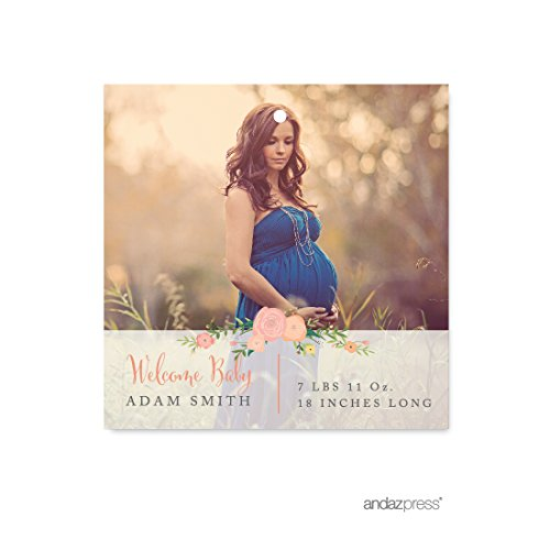 Andaz Press Photo Personalized Floral Roses Baby Shower Collection, Square Gift Tags, 24-Pack, Custom Image (Girl Personalized Image Wrap)