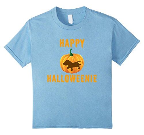 Kids Happy Halloweenie Funny Dachshund and Pumpkin Halloween Tee 10 Baby Blue