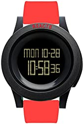 REACT! Mens Sport Watch Unisex Red Silicone Band Large Face Black Dial Reloj RA3033