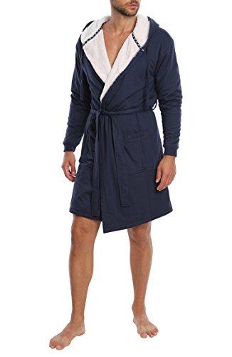 Jachs Men's Craftsman Robe French Terry Bathrobe With Hood - Navy, Medium