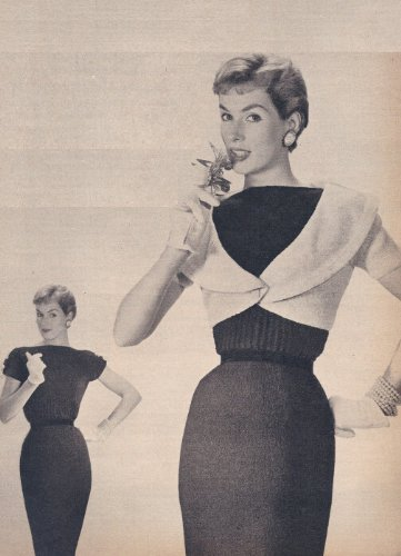 Vintage Knitting PATTERN to make - Shrug Bolero Sheath Dress 1950. NOT a finished item. This is a pattern and/or instructions to make the item only.