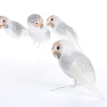 Factory Direct Craft Set of 12 Artificial White Barn Owl Mushroom Birds