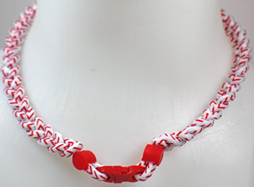 (NEW! Sports Farm Custom Clasp Tornado Necklace - White Baseball Stitch (Red Clasp) )
