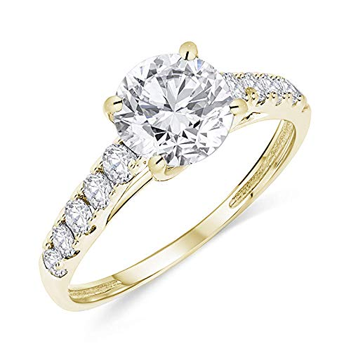 - Buy Jewels 14k Authentic Gold Engagement Ring Round Solitaire AAA+ Cubic Zirconia (Yellow-Gold, 4.5)