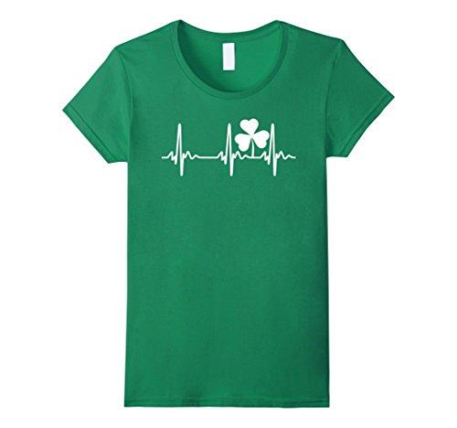 Womens Ireland Heartbeat Irish St. Patrick's Day T-Shirt Medium Kelly (Irish Heart Green T-shirt)