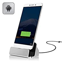 BESTVERT Type C Charger Dock, Desktop Charging Cradle Base Sync Stand Station with Charger Cable for Type C Device LG G5,Huawei Nexus 6P,5X,OnePlus 2,New Macbook 12'',Google ChromeBook Pixel(Silver)