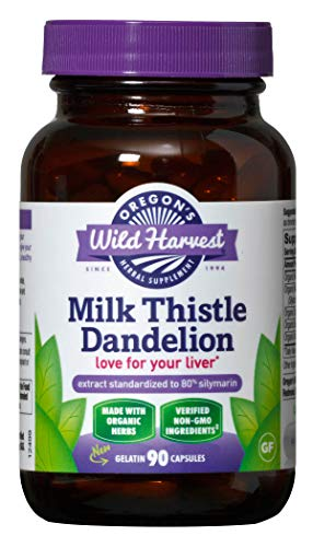Oregon's Wild Harvest Milk Thistle Dandelion Capsules, Non-GMO Organic  Herbal Supplements (Packaging May Vary), 90 Count
