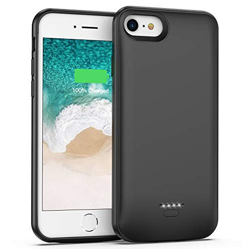iPhone 6 6s 7 8 Battery Case, Rechargeable Extended Battery Charger Case for iPhone 6 6s 7 8 (4.7 inch) 4000mAh Portable Protective Charging Case (Black) (Best Way To Listen To Music Offline)