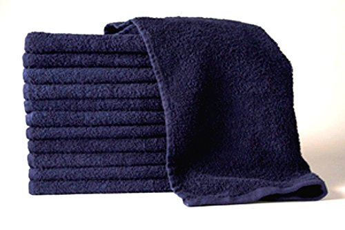 BEST Quality Bleach Proof 24 Pk (NAVY BLUE) Grand 16 x 27 Cotton Salon Spa Barber Towels •Free YS Park Chignon clips ($13 value) by Pro Hair Tools