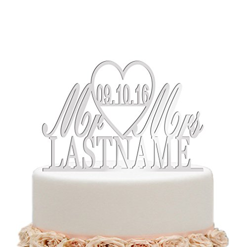 Personalized cake toppers wedding amazon ivisi mirror silver wedding cake toppers personalized mr and mrs last name surname junglespirit Image collections