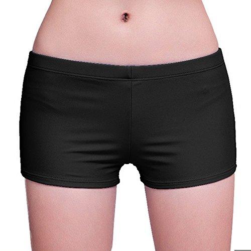 Highdas Mujeres Banador S¨²per Trunks Beach Wear shorts de playa Senora pantalon corto deportivo chica de Seguridad Plancha cortocircuitos del tablero del traje de bano Negro