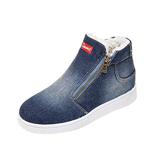 Hunzed Women【Denim Zipper Shoes】 Female Letter Thick Warm Winter Flat Snow Boots Round Toe Shoes (9.5 M US, Dark Blue)
