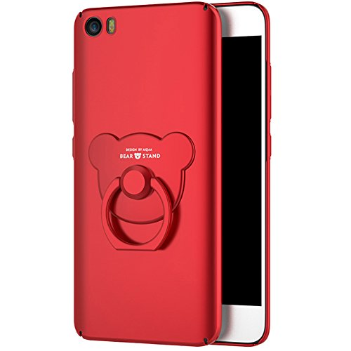 Price comparison product image Xiaomi Mi5 Case,  Xiaomi Mi5 Cover, ikasus Slim Fit Matte Hard Plastic Full Protective Anti Fingerprints Resistant with 360 Bear Ring Kickstand Cover Case for Xiaomi Mi5, Red