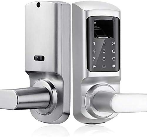 スマート指紋ドアロック、キーレスエントリセキュリティロック、電子タッチスクリーンパスワード、スペアキー、自宅/オフィス/アパート/ホテルに最適,銀