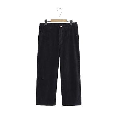 c30951cb85559 YOTONG Women s Corduroy Wide Leg Pants Retro Casual Loose Fit Trousers Plus  Size Black L