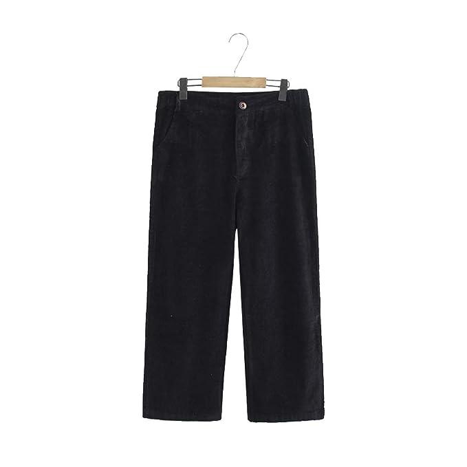 a6b8f460a16 YOTONG Women s Corduroy Wide Leg Pants Retro Casual Loose Fit Trousers Plus  Size Black 3XL
