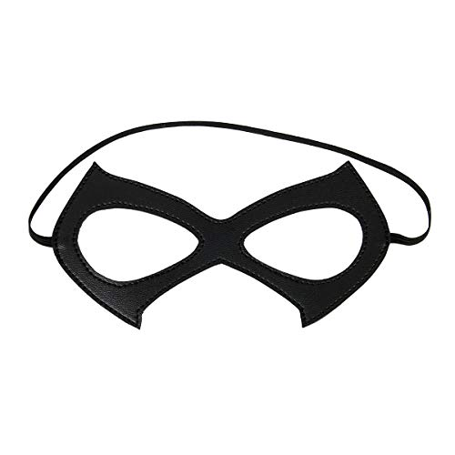 Luxury Black Red Leather Half Cat Eye Costume Mask Halloween Cosplay Fancy Dress Make Up Masquerade Party Props Accessory (Black A)]()