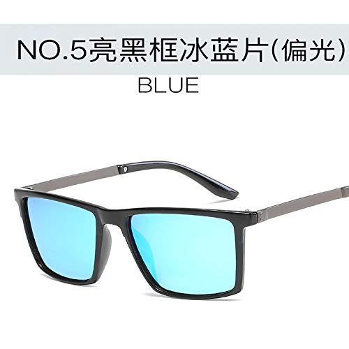de Caja Verde Caja de la Gafas Gafas Aire Sol del los Hombres Sol Burenqiq película la Las Tendencia enmarcan Brillante de Retro al la Oscuro polarizador blue ice frame Bright black Negro Las Libre de de de del Marco Wqfzc6g