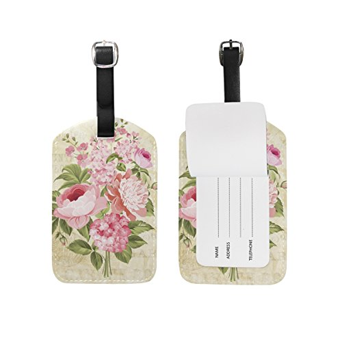 - My Daily Flowers Vintage Postcard Luggage Tag PU Leather Bag Tag Travel Suitcases ID Identifier Baggage Label