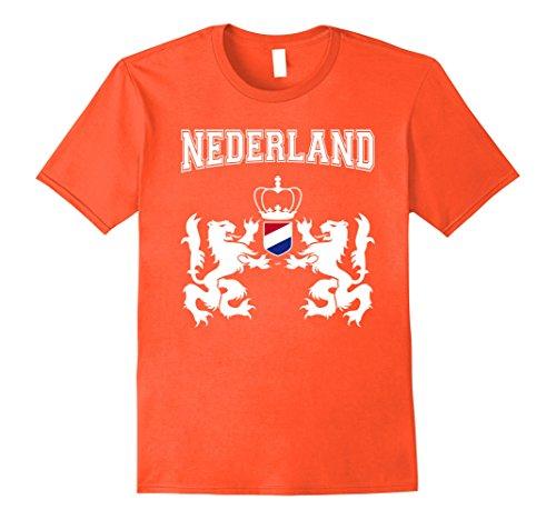 Mens Netherlands - Nederland coat of arms soccer t-shirt Large Orange Netherland Coat Of Arms