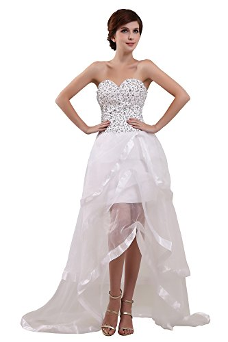 Vogue007 Ladys Sweetheart Organza Pongee Satin Formal Dress with Rhinestones, White, 16 by Unknown