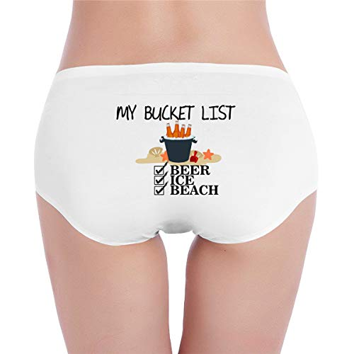 My Bucket List - Beer Ice Beach Low Waist Panty Underwear Thong Lingerie Underpants White