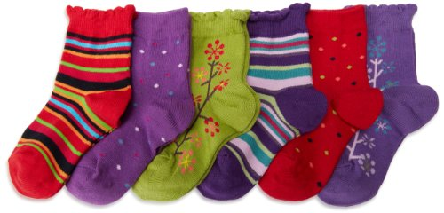 Country Socks Girl - Country Kids Little Girls'  Pick-A-Mix Socks 6 Pair, Red/Dusky Plum, Sock Size 5-6
