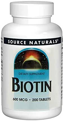 Source Naturals Biotin 600mcg High Potency B Vitamin Nutrients Support Healthy Hair, Skin & Nails - Maximum Strength Biotin Deficiency Supplement - 200 Tablets