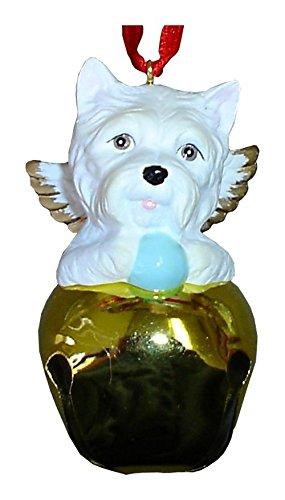 StealStreet SS-D-BL025-B Cute Christmas Holiday West Highland Terrier Dog Ornament Bell, Gold