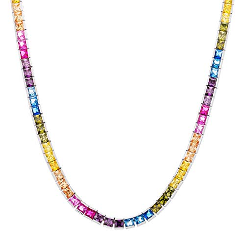 Diamoness Sterling Silver Rainbow Tennis Necklace with Square Cut Cubic Zirconia, 18