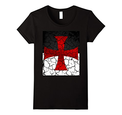 Womens Templar T-Shirt Battle Flag Distressed Medieval Knights Small Black
