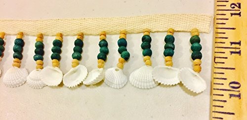 Beaded Fringes - Natural Sea shells, Bone , Turquoise dark green Wooden Beads - 1 (Turquoise Beaded Fringe)