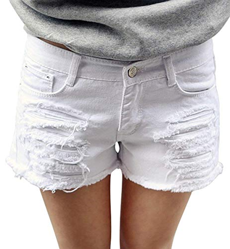 (chouyatou Women's Perfectly Fit 5-Pockets Ripped Denim Jean Shorts (X-Large, White))