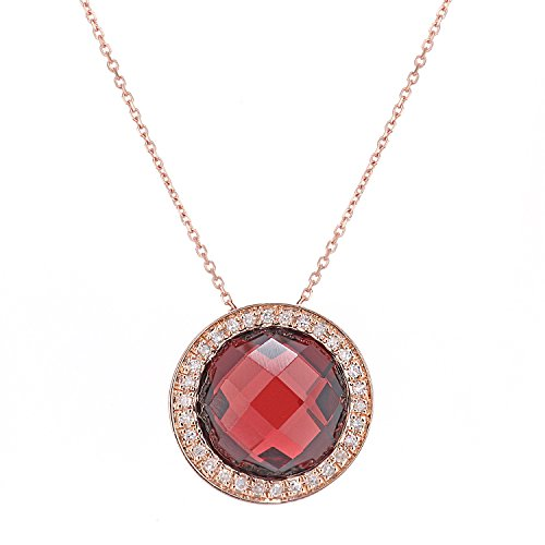 Naava Femme 9carats (375/1000) Or rose Coussin Rouge Granat Diamant