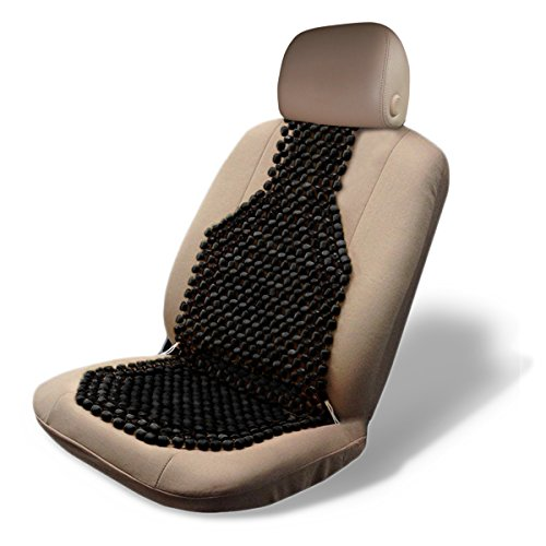Zone Tech Wood Beaded Seat Cushion - Quality Black Premium Quality Car Massaging Double Strung Wood Beaded Seat Cushion for Stress Free All Day! ()