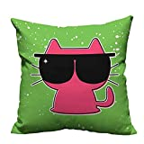 YouXianHome Super Soft Pillowcase Cute Cat with Sunglasses Hipster Baby Animal Nursery Children Design Lime Green Pink Resists Wrinkles(Double-Sided Printing) 21.5x21.5 inch