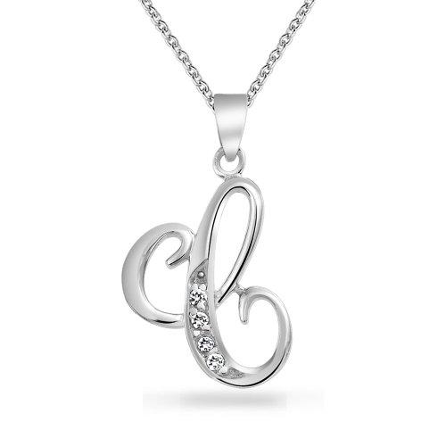 Abc Cubic Zirconia Pave CZ Cursive Script Letter Alphabet Initial C Pendant Necklace For Women Sterling Silver