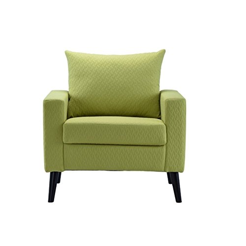Moon Daughterฺ Tracery Style Mid-Century Lime Green Color Linen Fabric Armchair Accent Chair (Victorian Wicker Rocking Chair)