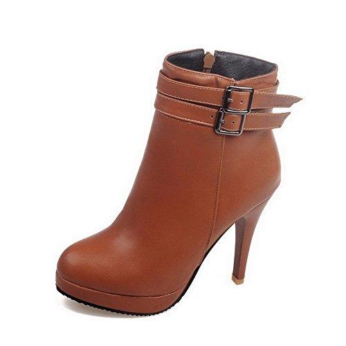 Women's Solid Pu High Heels Zipper Closed Round Toe Boots