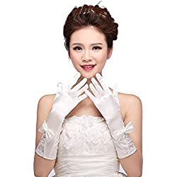 Sxfashbrd Women's Fingerless Length Opera Lace Bridal Gloves Flower Wedding Gloves Size Free White