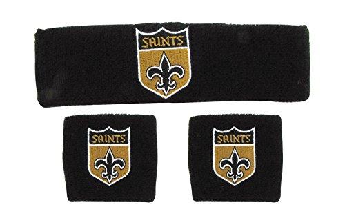 NFL New Orleans Saints Wristbands & Headband Set, Black, One Size