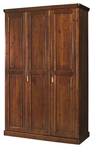 Armadio 3 ante alto 248 in legno massello di pino-Colore MIELE ...