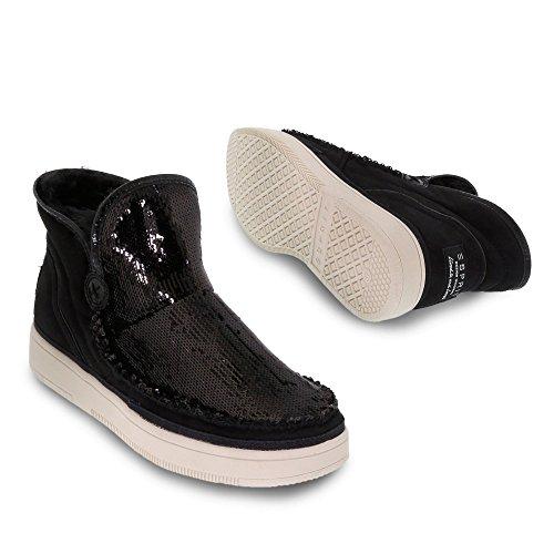 ESPRIT 116EK1W007 001 Desire Sequins Damen Boots Aus Lederimitat mit Ziernaht Schwarz
