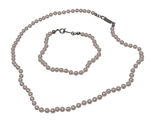 Girls Simulated Pearls Bracelet and 14 Inch Necklace Set (Pink - 6 in Bracelet) (Pink Bracelet Real Necklace Pearl)