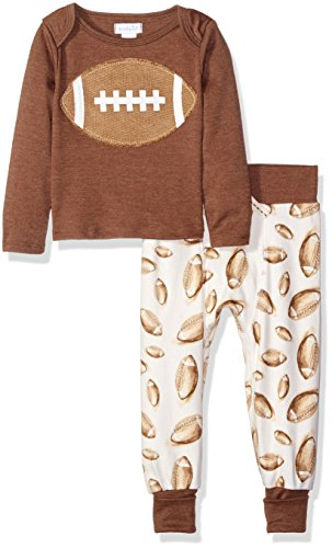 Mud Pie Baby Boys' Football Two Piece Playwear Set, Brown, 9-12 Months
