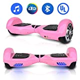 """HYPER GOGO 6.5"""" inch Electric Smart Self Balancing Hoverboard Scooter with Built-in Bluetooth Speaker ED Lights UL 2272 Certified (Pink, 6.5"""")"""