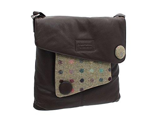 Borsa Tracolla Mala Leather Collezione ABERTWEED in Pelle e Tweed 730_40 Punto marrone Punto Marrone